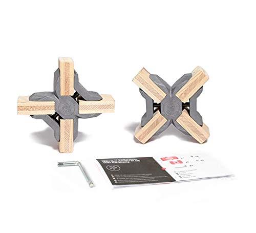 PlayWood Kit de Construcción de Cruz Conectores, Pinzas de Plástico con Tornillo de Acero Inoxidable, Grosor Entre 16-19 mm, Ideal para Bricolaje, Estantes Modulares de Madera (Kit 2 Piezas, Gris)