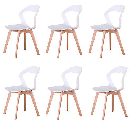 GroBKau Set di 6 Sedie con Schienale in Plastica per Soggiorno, Sala da Pranzo, Ufficio, Sala Riunioni, Ristorante, ECC. (Bianca-6)