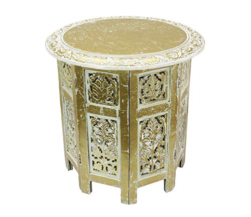Cotton Craft Jaipur Solid Wood Hand Carved Accent Coffee Table - 18 Inch Round...