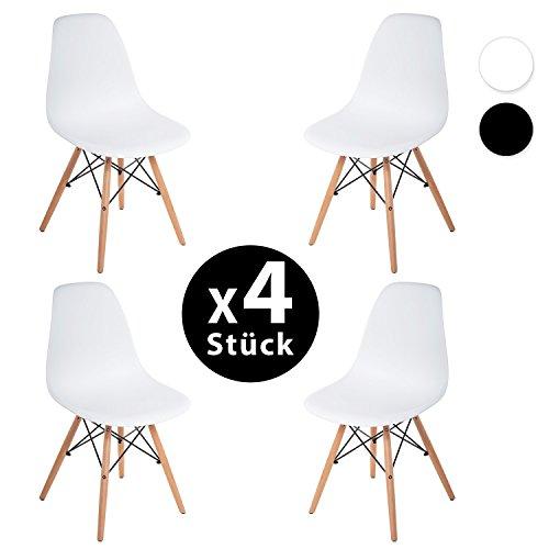 Merax.® 4 x Set Wohnzimmerstuhl Esszimmerstuhl Bürostuhl Kunststoff Chair Eiffel/Eiffelturm Weiß/Schwarz (Weiss)
