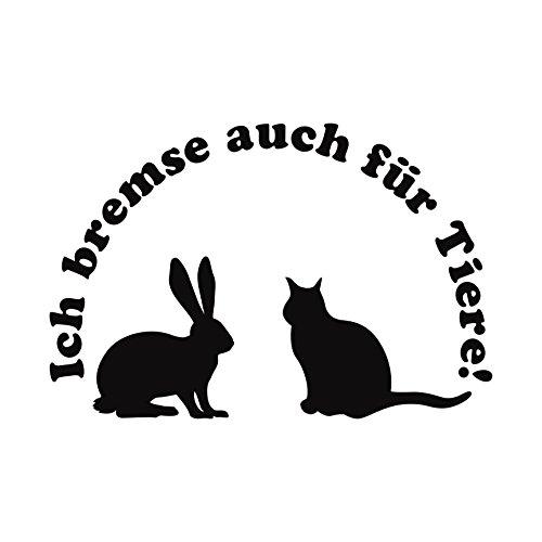 Folistick Ich Bremse auch für Tiere! Aufkleber Katze Hase Tierschutz Autoaufkleber (SCHWARZ)