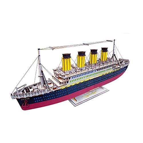 Zidao Rompecabezas de Madera Kit Modelo, Juguetes educativos de Corte láser 3D Titanic mecánica del Modelo de Nave de Bricolaje Puzzle Set,1