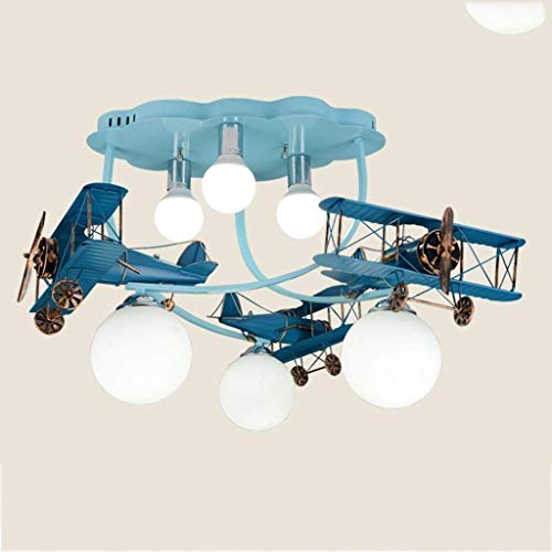 Logs Country Kids Bedroom Lamps Men Girls Bedroom Lighting Plafoniere LED Creative Cartoon Aircraft Fixtures, A (Colore: blu)