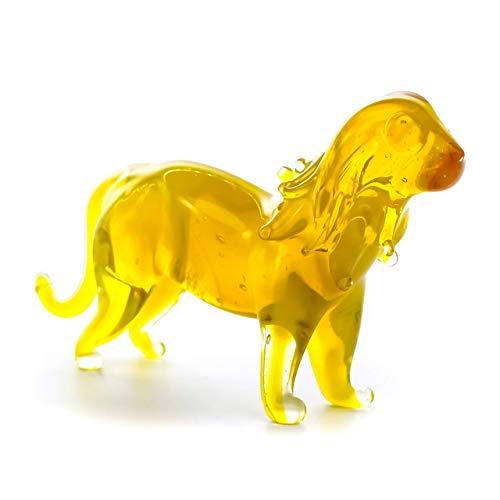 Glass Lion Figurine - Handmade Hand Blown Art Glass Wild Animal 2.25'