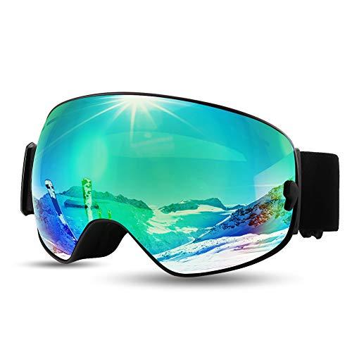 CrazyFire [2020 Neue] Skibrille, Snowboard Schneebrille,Sphärischer Dual-Linse,100% OTG UV-Schutz Anti-Fog Snowboardbrille,für Männer,Frauen,Jugendliche und Schneemobil (Grün)