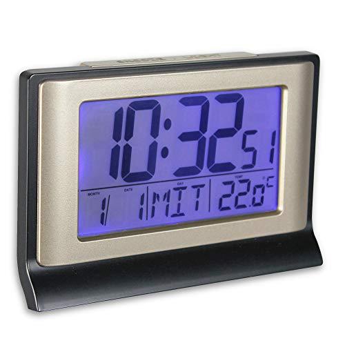 Soldela - Reloj despertador digital digital con radio controlado de 13 cm, pantalla LCD con retroiluminación azul, números grandes, alarma con función Snooze