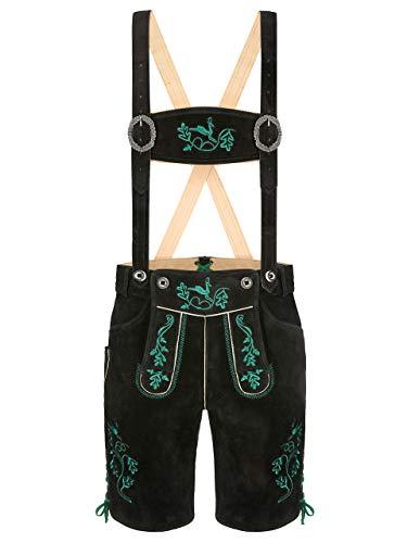 Almbock Trachtenlederhose Herren kurz Österreich - Schwarze Lederhose Herren mit aufwendiger grüner Stickerei - Short Lederhose - Lederhose kurz XS