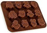 BlueFox Silikonform mit Eulen, Uhu, Pralinenform, Schokolade, Giessform, Silicone Mold,...