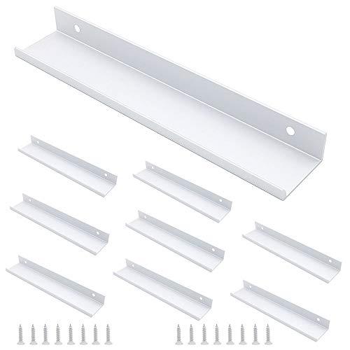 NUZAMAS - Juego de 8 manijas para cocina, aleación de aluminio, color plateado, tiradores de puerta, tiradores ocultos de dedo para el hogar, la cocina, el gabinete, 20 cm