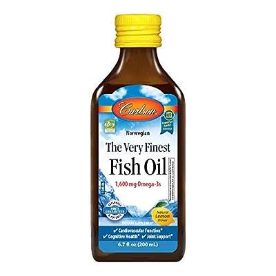 Carlson - The Very Finest Fish Oil, 1600 mg Omega-3s, Liquid Fish Oil Supplement, Norwegian Fish Oil, Wild-Caught, Sustainably Sourced Fish Oil Liquid, Lemon, 200ml, 6.7 Fl Oz