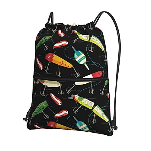 AOOEDM Mochila con cremallera con cordón para cebos de pesca, mochila deportiva para gimnasio con bolsillos exteriores con cremallera para adolescentes, niños, niñas, hombres y mujeres