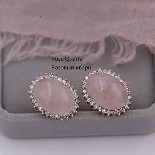 CHQSMZ Pendientes nuevos de ónix de Piedra Natural Grandes Pendientes Colgantes para Mujer circonita cúbica Blanca 585 joyería de Oro Rosa para Fiesta de Boda