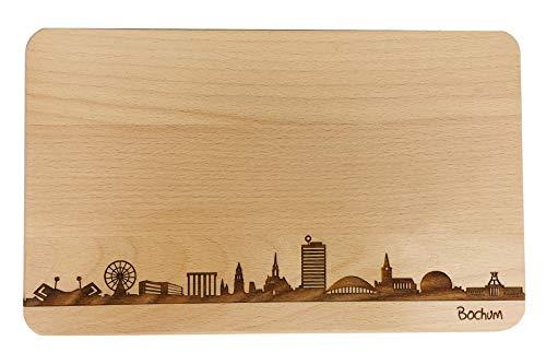 SNEG Brotzeitbrett Bochum Skyline | Frühstücksbrettchen aus Buche | Holz Schneidbrett | Geschenk mit Gravur | Frühstücksbrett | Nordrhein-Westfalen (Standard (22x14x1cm), 1. ohne persönlicher Gravur)