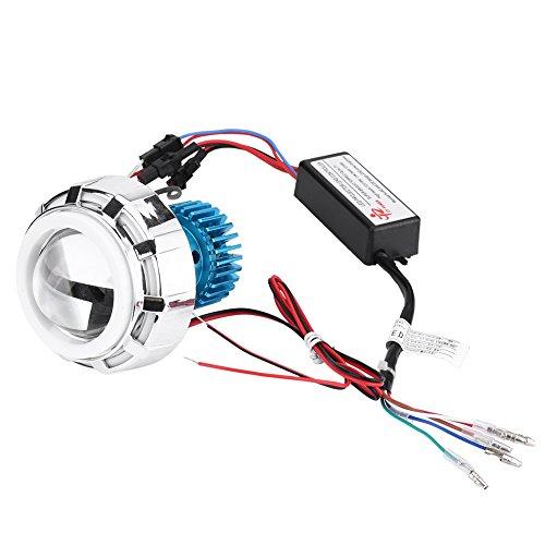 Qiilu koplamp voor de motor, 12 V, hoog/laag, LED, koplamp, lens met dubbele engel, devil ogen, koplamp