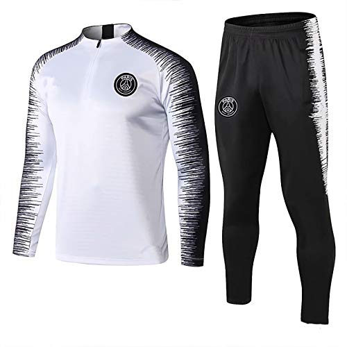 YXLD Paris Langarm-Sportbekleidung, Trainingsanzüge for Kinder Jugend Jogging Top & Pants Gym Kleidung Unisex Full Zip Trikot Trikots Teamswear Anzug (Color : White),S