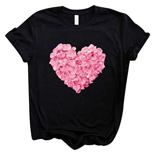 Linkay Mädchen T Shirt Herz süß kurz Top Sommer Bluse Einfarbige Casual Oberteile Damen (Schwarz,XXX-Large)