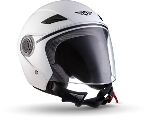 "Moto Helmets® U52 ""Matt White"" · Jet-Helm · Motorrad-Helm Roller-Helm Scooter-Helm Bobber Mofa-Helm Chopper Retro Cruiser Vintage Pilot Biker Helmet · ECE Visier Schnellverschluss Tasche M (57-58cm)"
