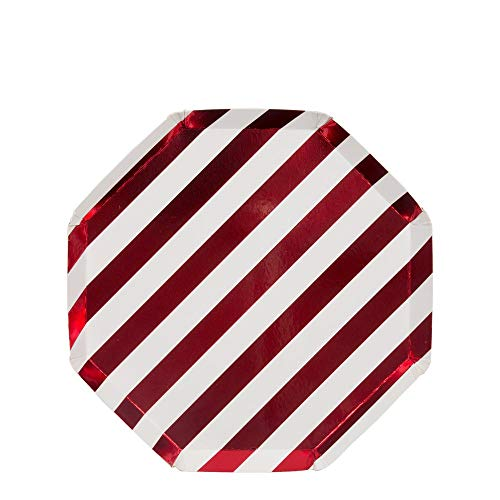 Meri Meri Red Metallic Stripe Paper Plates - Disposable Party Supplies, For Birthday Parties, Baby Showers, and Wedding Celebrations, Small 8.25 x 8.25 Inch Size, Pack of 8