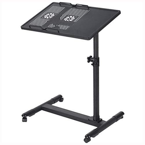 360 & deg;Schwenkbarer Laptop-Schreibtisch Tragbar mit Rollen Überbett Sofa Mobiler Schreibtisch Höhenverstellbar 56-90 cm mit Lüfter-Computertisch (Farbe: Schwarz)