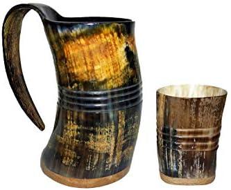 Authentic Handcrafted Buffalo Horn Viking Drinking Mug With Natural Mango Wood Bottom 16 9 oz product image