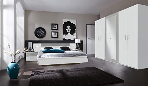 Wimex Angie Drehentürenschrank -2 Spiegel, Weiß/Lichtgrau, 58 x 270 x 208 cm