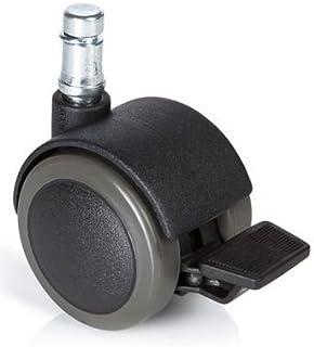 hjh OFFICE 619034 roulettes pour sols durs, roues pour chaise de bureau lot de 5 ROLO STOP 11mm/50mm avec frein de station...