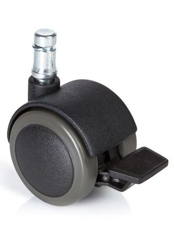 hjh OFFICE 619034 roulettes pour sols durs, roues pour chaise de bureau lot de 5 ROLO STOP 11mm/50mm avec frein de stationnement, appropriées pour parquet, sol stratifié, carrelage ou sol carrelé