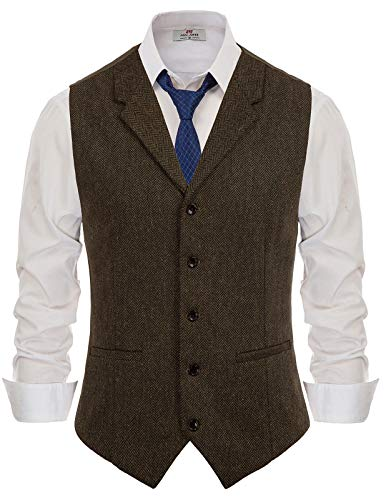 Mens Tailored Collar Slim Fit Vest Herringbone Tweed Waistcoat Dark Brown M