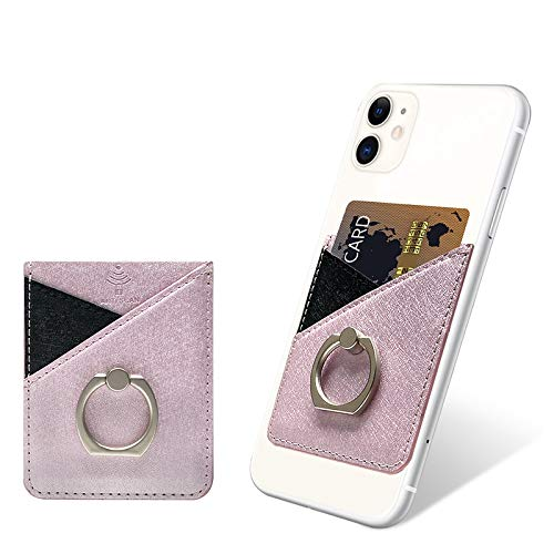 Phone Card Holder, takyu Card Holder for Back of Phone, RFID Blocking Credit Card Holder Cell Phone Wallet Stick on Case, Double Slots Leather Sleeves Card Pocket for Credit Card & Id(Pink)
