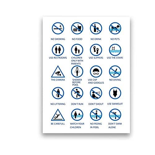 DLFALG Pintura de lienzo minimalista Reglas de la piscina Piscinas públicas y privadas Signo Cartel de arte de pared Impresión de imagen Oficina Decoración para el hogar-40x60cm Sin marco