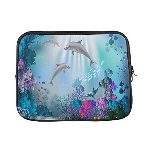 INTERESTPRINT Laptop Case Bag Sleeve Underwater World with Dolphins and Plants Fun Laptop Protection Cover 13 Inch 13.3 Inch