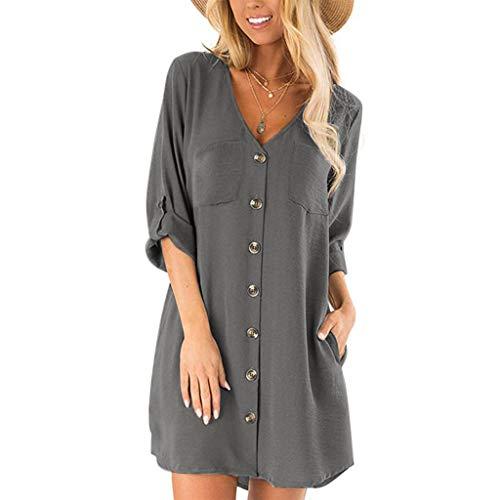 iCerber Damen Langarm Umlegekragen Elegant Lang Blusenkleid Hemdkleid Shirt Kleid Oberteil Kleid Maxikleid mit Gürtel S-5XL