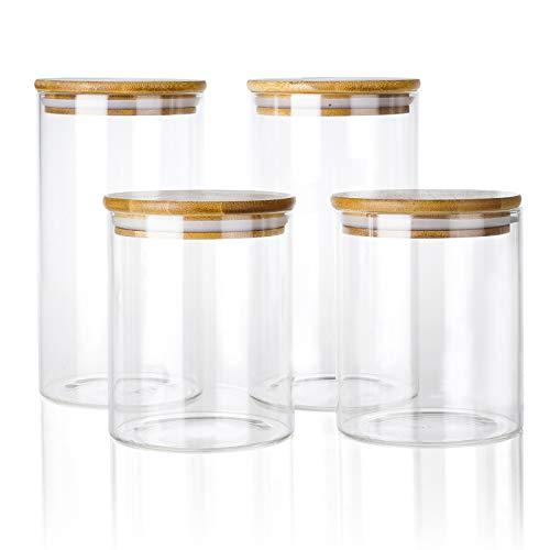 Juego de 4 tarros de cristal de 4 L con tapa de bambú 100 % – en 2 tamaños: 800 ml 1200 ml – Cocina hermética – Tarros de cristal de borosilicato reforzado