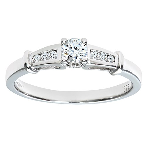 Naava Anillo de Mujer con Oro blanco de 9 quilates (375) con Diamantes Brillantes - Tamaño 21