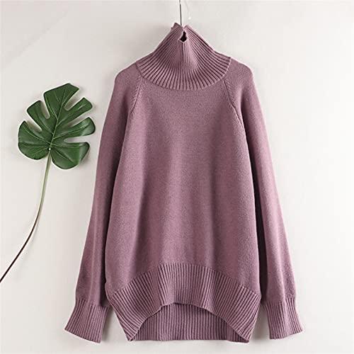 Zima Oversized Gruby Sweter z dzianiny damskie Cashmere Sweterek Sweter z długim rękawem Loose Warm Jumper (Color : Purple C9118, Size : One Size)