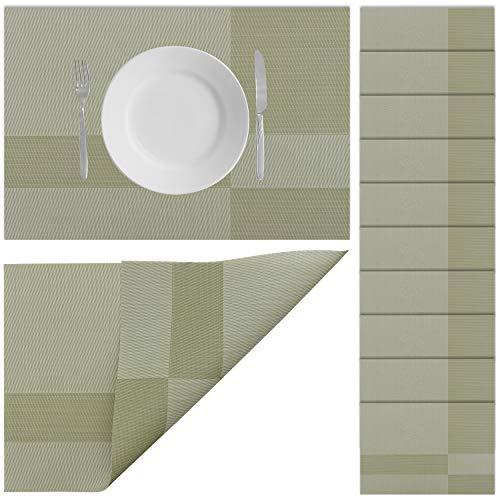 Halal-Wear 10er Set Tischsets Abwaschbar Platzsets rutschfest Abwischbar Platzdecken Tischunterlage hitzebeständig Platzdeckchen platzset (12 Oliven Grün)