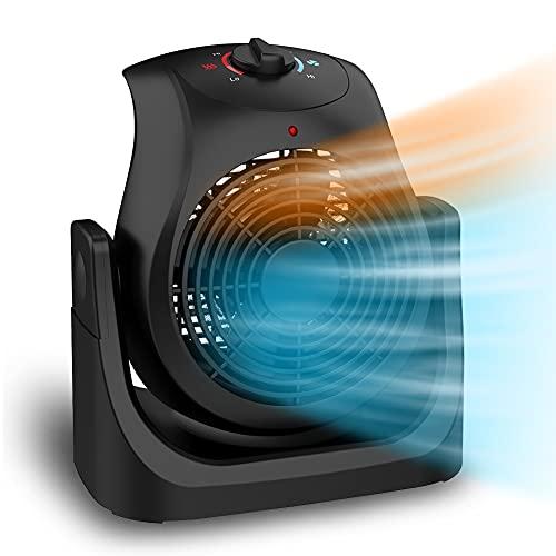 LifePlus 2 in 1 Heater Fan Combo Personal Fan Table Fan Overheat Protection for Desk Home Office 1500W Black
