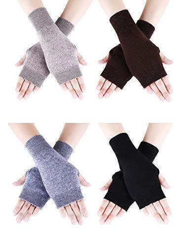 Tatuo 4 Paar Cashmere Feel Fingerlose Handschuhe mit Daumenloch warme Handschuhe für Damen und Männer (Farbe Set 1)