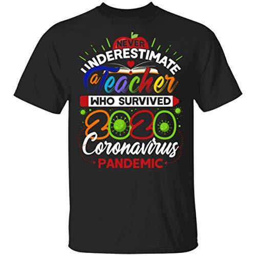 KellyGiftCorner Never Underestimate a Teacher Who Survi-Ved 2020 Coro-Navirus Pan-Demic T-Shirt