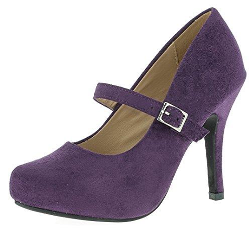 Hirschkogel Damen Pumps 0596607 HIGH Heels | Mary Janes | Trachtenschuhe |, Größe:36 EU, Farbe:lila