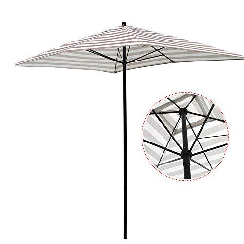 LYBC Parasol de Patio Rayé 200cm Parasol de Jardin Rectangulaire Parasol Extérieur,Nervures Carrées Robustes,Mât en Fer,Protection Solaire