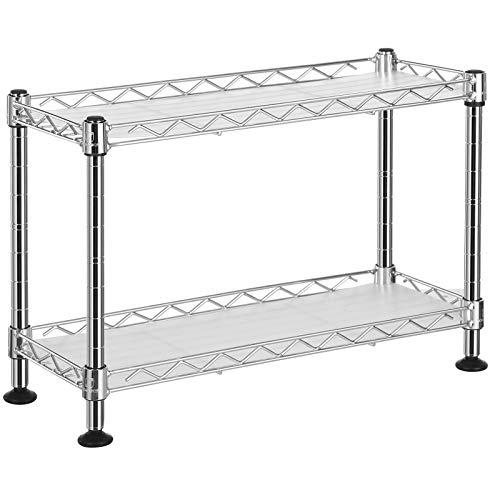 SONGMICS Estantería de especias, Estantería de cocina de 2 niveles con panles de PP, Estante de almacenamiento de acero ajustable, para armario, cocina, baño, Plata LGR21SV