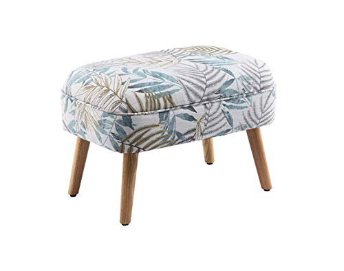 Jambala Sofa Stool Nordic Sofa Footstool Change Shoe Bench Fabric Leather Art Dressing Stool Smoke Blue Leaf Pattern 60x43x42cm