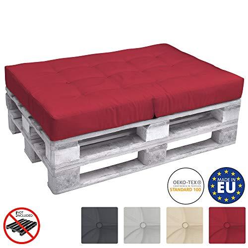Beautissu Cuscino per Seduta di Divano Pallet Eco Elements 120x80x15cm - per divanetti con bancali di Legno - Rosso