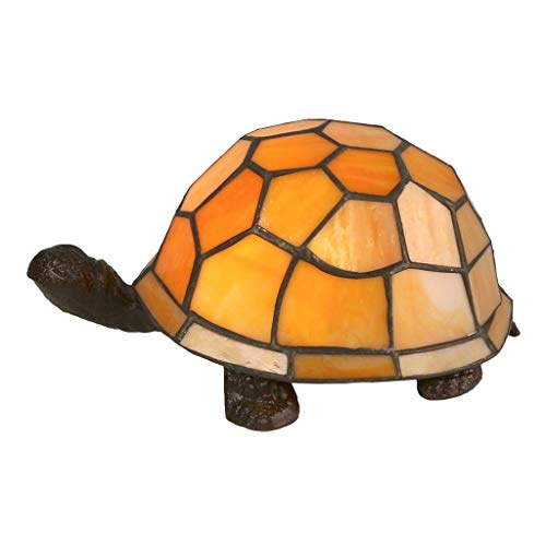 ZHAOTD Tiffany Style Orange Cute Turtle Design Lámpara de Mesa 22cm