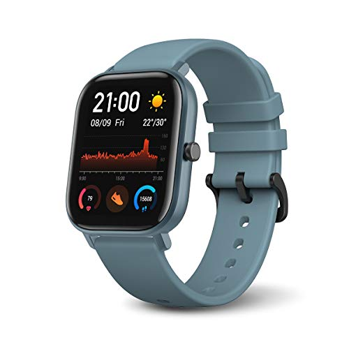 Amazfit GTS Smartwatch with 14-Day Battery Life,1.65 Inch AMOLED Display, Customizable Widgets, Slim Metal Body, 5 ATM Water Resistance, 24/7 Heart Rate and Activity Tracking, Steel Blue