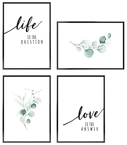 C+C Wandbilder für Paare | Unterschiedliche Sets Verfügbar | Bilder mit Sprüchen für Schlafzimmer ohne Bilderrahmen | Boho Poster Set 4x DIN A4 ca. 21x30 | » Life and Love «