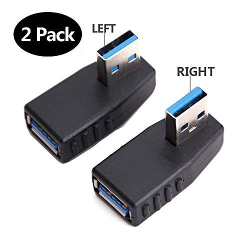 EasyULT Adaptador USB 3.0 Macho a Hembra en ángulo Recto con Giro de 90 Grados,Conector USB en ángulo Recto,Compatible con Todos los Dispositivos de Interfaz USB