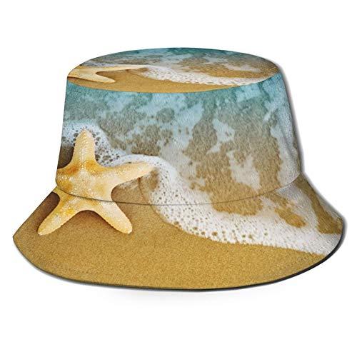 Unisex Bucket Sun Hats Blue Above Sea Star Starfish On Sandy Shore After The Tide Colorful Aquatic Beach Fashion Summer Outdoor Travel Beach Fisherman Cap