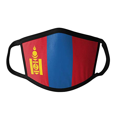 M&schutz Maske Stoffmaske X Groß Asien Flagge Mongolei/Mongolisch Wiederverwendbar Waschbar Weiches Baumwollgefühl Polyester Fabrik Schwarze Naht Trimmen